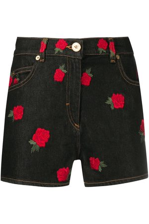 VERSACE Rose-embroidered shorts