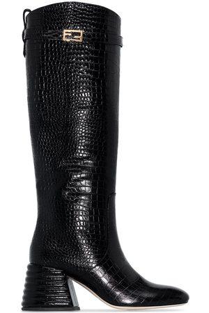 Fendi Kniehohe Stiefel mit Kroko-Optik, 65mm