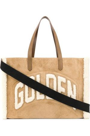 Golden Goose Textured fleece logo tote bag - Nude