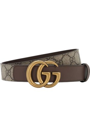 "Gucci Damen Gürtel - 30mm Breiter Ledergürtel ""gg Supreme Marmont"""