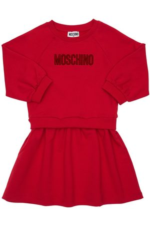 Moschino Kleid Aus Baumwollfleece Mit Logo
