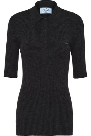 Prada Ribbed-knit polo shirt