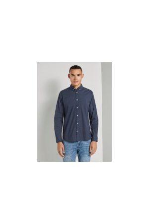 TOM TAILOR Herren Lange Ärmel - Gemustertes Stretch-Hemd, Herren, navy blue crosses design, Größe: XXL