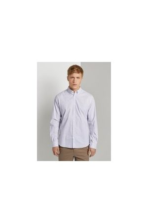 TOM TAILOR Gemustertes Stretch-Hemd, Herren, white blue crosses design, Größe: XXL