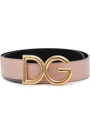 Dolce & Gabbana Pink logo buckle leather belt