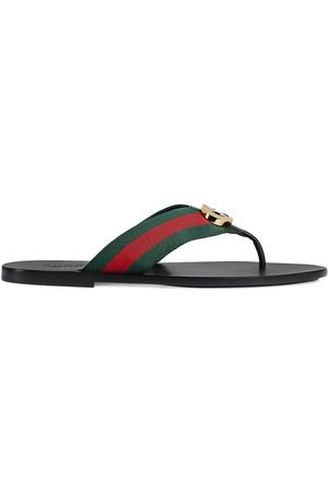 Gucci Gestreifte Sandalen mit Logo