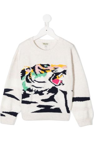 Kenzo Tiger-print knitted jumper - Nude