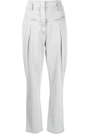 Alberta Ferretti High-waisted pleated jeans