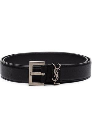 Saint Laurent Monogram-plaque buckled belt