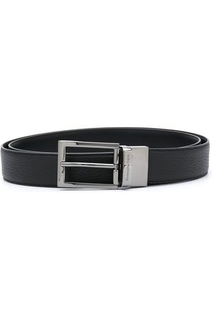 Ermenegildo Zegna Leather belt with silver-tone hardware