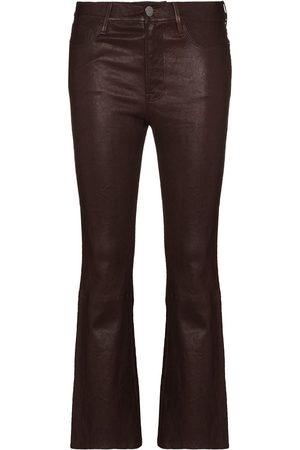 Frame Le Crop flared leather trousers