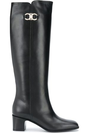 Salvatore Ferragamo Gancini knee-high boots - BLACK
