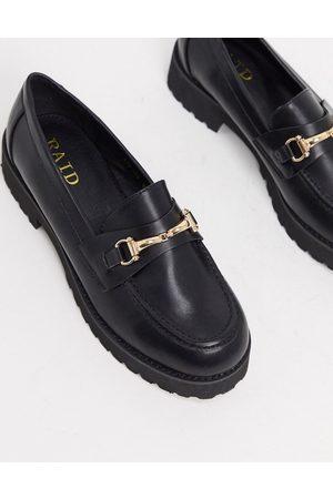 Raid – Empire – Schwarze Loafer mit breiter Sohle und goldfarbenen Trensendetails
