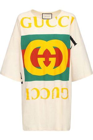 Gucci T-shirt-kleid Aus Baumwolle Mit Druck