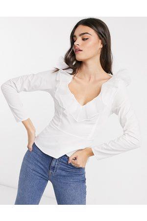 ASOS Damen Oberbekleidung - Langärmliges Oberteil aus Baumwolle mit Organza-Rüschen in