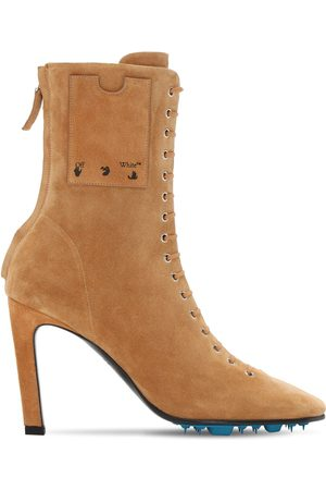 OFF-WHITE 100mm Velour Suede Ankle Boots