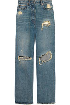 Gucci Damen Cropped - Ripped Jeans aus Bio-Denim mit ökologischer Waschung