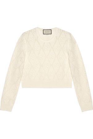 Gucci Kurzer Pullover aus Wolle mit GG Lochstickerei