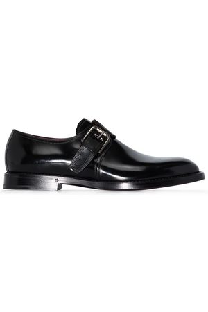Dolce & Gabbana Black buckle leather Monk shoes