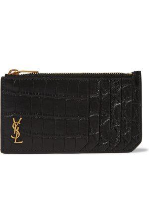 Saint Laurent Herren Geldbörsen & Etuis - Logo-Appliquéd Croc-Effect Leather Wallet