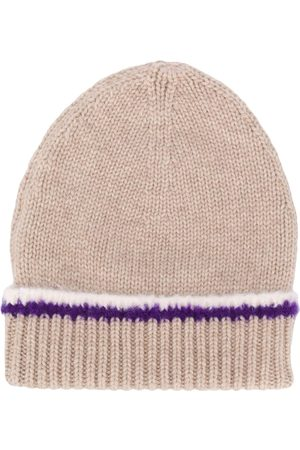 Barrie Contrast-trim beanie - Nude