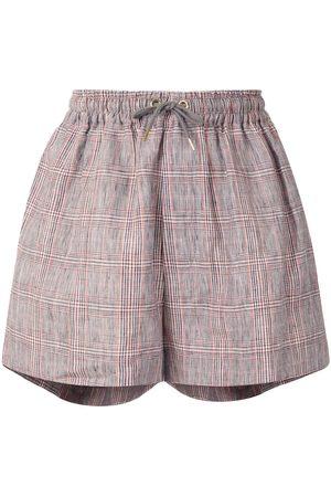 Karen Walker Maple checked linen shorts - TERRACOTTA CHECK