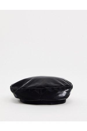 ASOS Damen Mützen - Schwarze Baskenmütze aus Vinyl