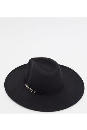 My Accessories Damen Hüte - Exklusiver, übergroßer Fedora-Hut mit Kettendetail in