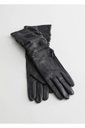 & OTHER STORIES Ruched Leather Gloves - Black