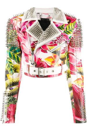 Philipp Plein Floral print biker jacket
