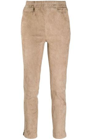 arma leder Slim-fit pull-on trousers - Nude