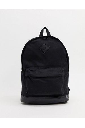 ASOS Herren Rucksäcke - Backpack aus schwarzem Leinen mit Kunstlederboden