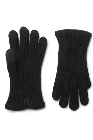Loro Piana Herren Handschuhe - Leather-Trimmed Ribbed Cashmere Gloves