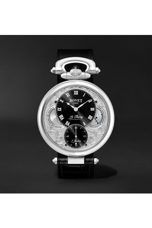 Bovet Herren Uhren - 19Thirty Fleurier Hand-Wound 42mm Stainless Steel and Croc-Effect Leather Watch, Ref. No. NTS0016