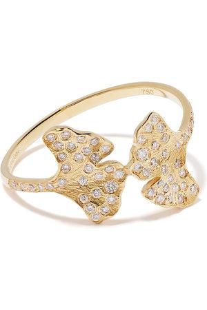 Aurélie Bidermann 18kt 'Ginkgo' Gelbgoldring mit Diamanten