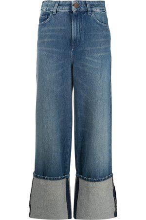 ALYSI Turn-up hem wide leg jeans