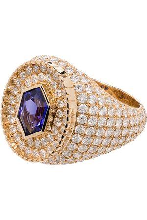 O Thongthai Herren Ringe - 14kt 'Fancy Cut' Gelbgoldring mit Tansanit und Diamanten