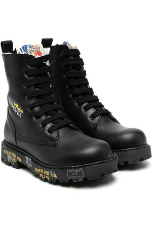 Premiata Lace-up embroidered logo boots