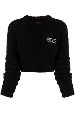 GCDS Damen Strickpullover - Cropped-Pullover mit Logo-Print