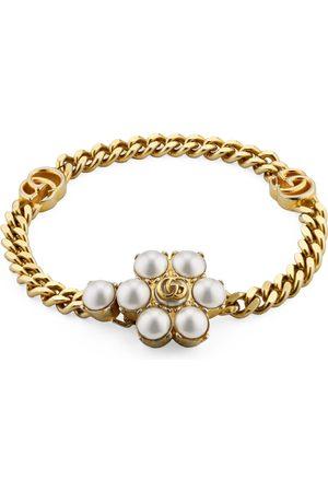 Gucci Armband mit Doppel G und Perlen