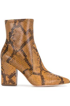Loeffler Randall Snakeskin-effect 90mm ankle-length boots