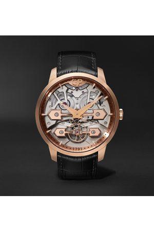 Girard Perregaux Herren Uhren - Classic Bridges Automatic Skeleton 45mm Rose Gold and Alligator Watch, Ref. No. 86000-52-001-BB6A