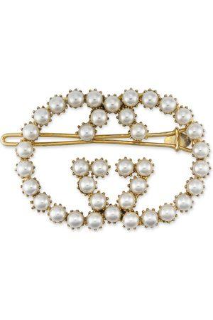Gucci Haarspange mit GG aus Perlen