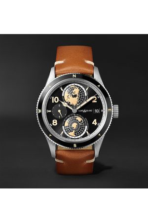 Mont Blanc Herren Uhren - 1858 Geosphere Automatic 42mm Stainless Steel, Ceramic and Leather Watch, Ref. No. 119286