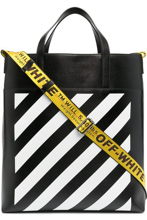 OFF-WHITE DIAG LEATHER TOTE BLACK WHITE