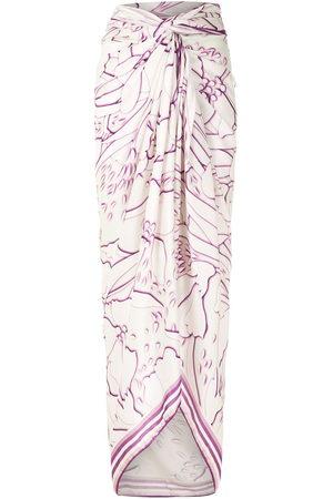 AMIR SLAMA Abstract-print long sarong - Nude