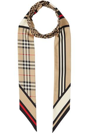 Burberry Montage-print silk skinny scarf - Nude