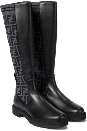 Fendi Stiefel FF aus Leder und Strick