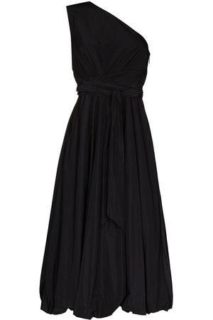 tibi One-shoulder belted-waist midi dress