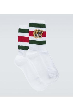 Gucci Bestickte Socken aus Stretch-Baumwolle